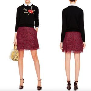 Carven Burgundy Red Lace Skirt